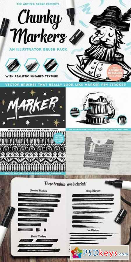 Chunky Markers - Illustrator Brushes 1614172