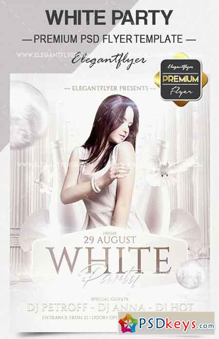 White Party V03 Flyer PSD Template + Facebook Cover