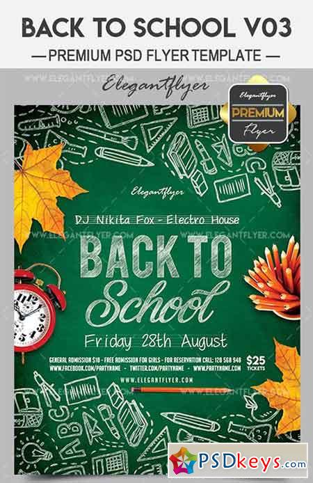 Back To School V03 – Flyer PSD Template + Facebook Cover