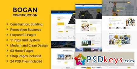 Bogan - Construction Building and Renovation Business PSD Template 20246894