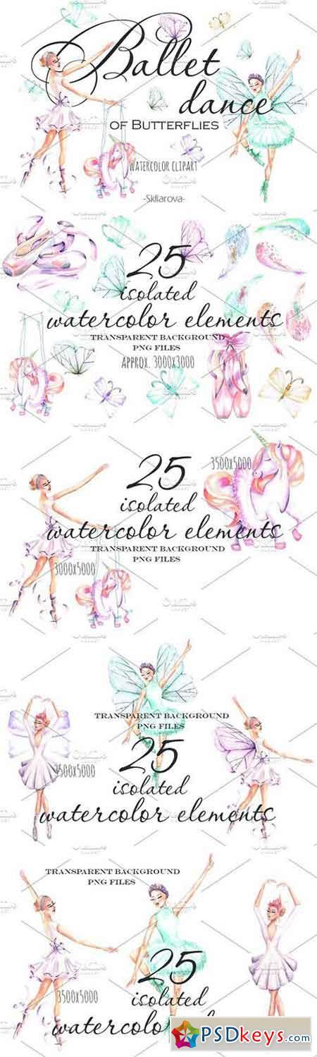 Ballet watercolor clipart 1616044