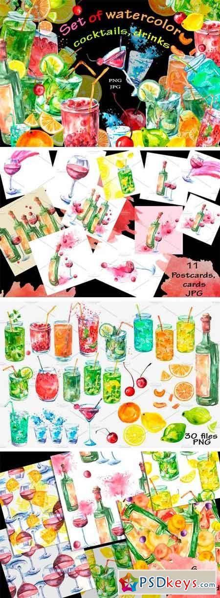 Watercolor Set of Cocktail, Drinks