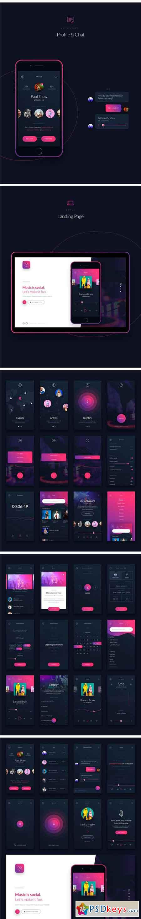Music UI UX Mobile App Kit 1624699