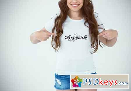Woman Pointing At T-Shirt Mockup 1634684