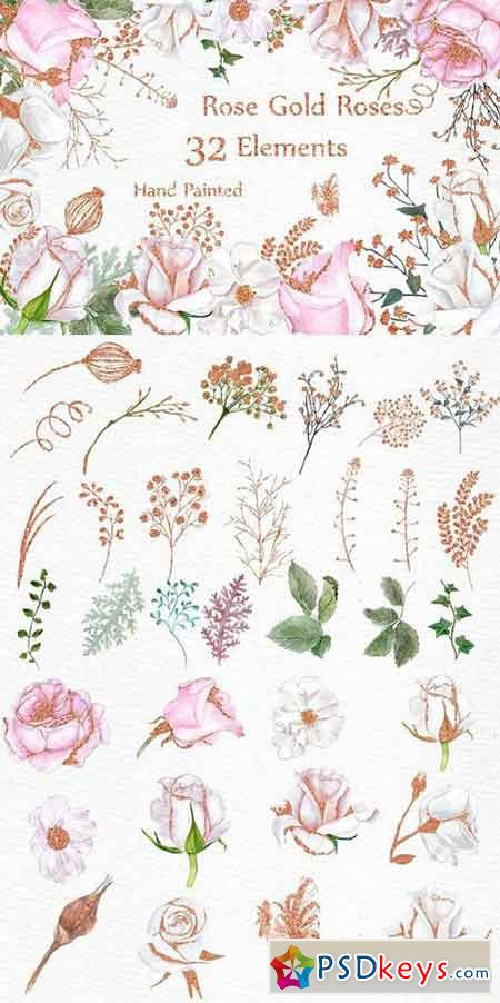 Rose Gold watercolor flowers clipart 1632563