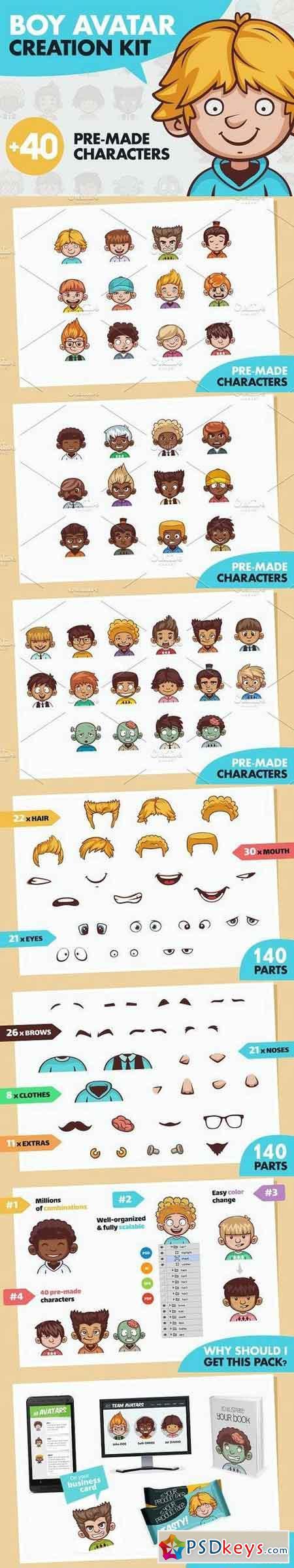 Cartoon Boy Avatar Creation Kit 1393542