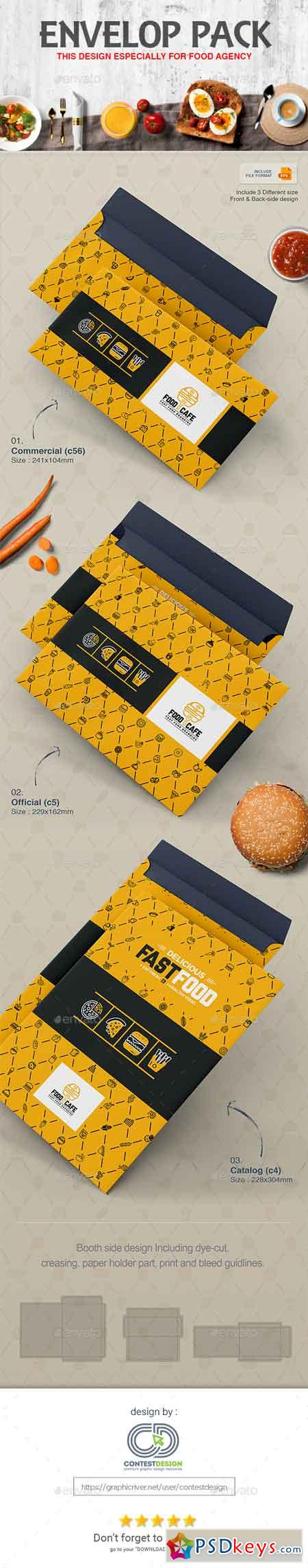 Envelop Design Pack Template for Fast Food Restaurants Cafe 20350783