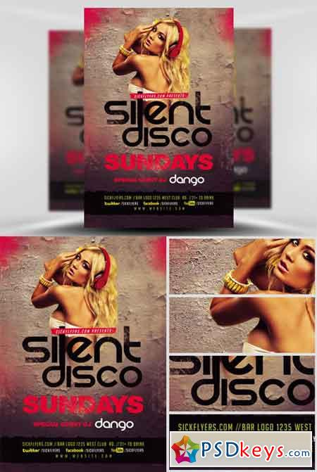 Silent Disco Flyer Template  Free Download Photoshop Vector Stock