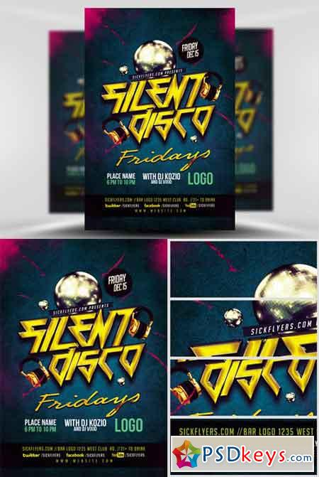 Silent Disco Flyer Template V  Free Download Photoshop Vector