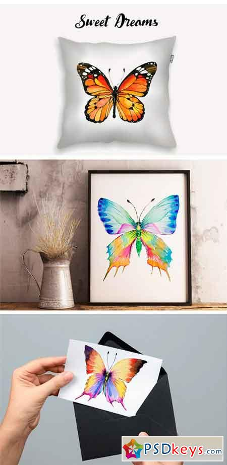 Watercolor Butterflies, EPS and PNG 1616479