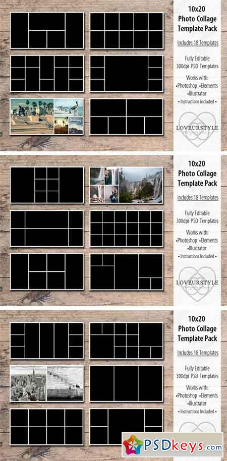 10x20 Photo Collage Template Pack 1683891
