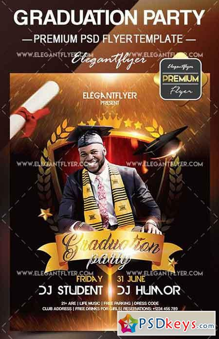 Graduation Party V02 U2013 Flyer PSD Template + Facebook Cover