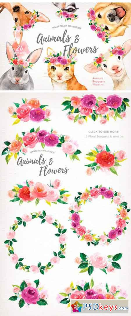 Animals & Flowers Watercolor Clipart 1624478