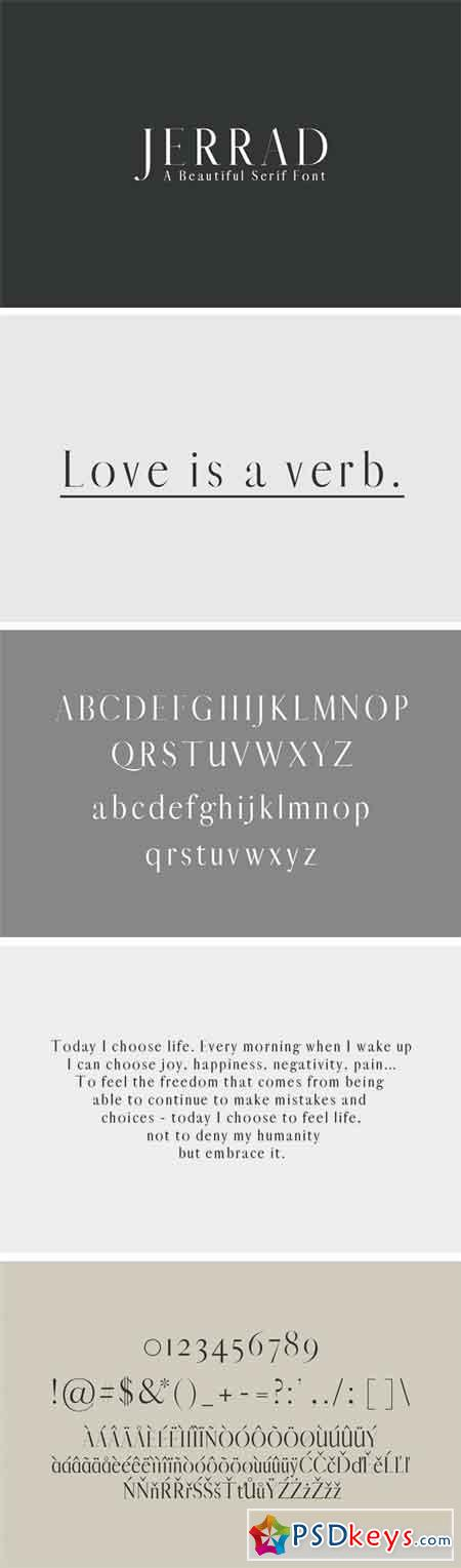 Jerrad Beautiful Serif Font Family 1678268
