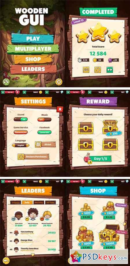 Wooden GUI for Mobile Game 1527825