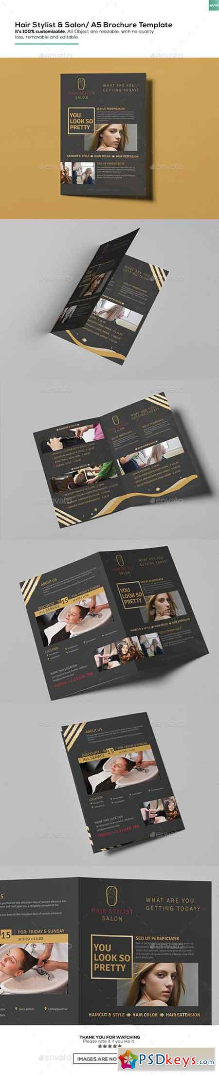Hair Stylist & Salon A5 Brochure Template 16162465