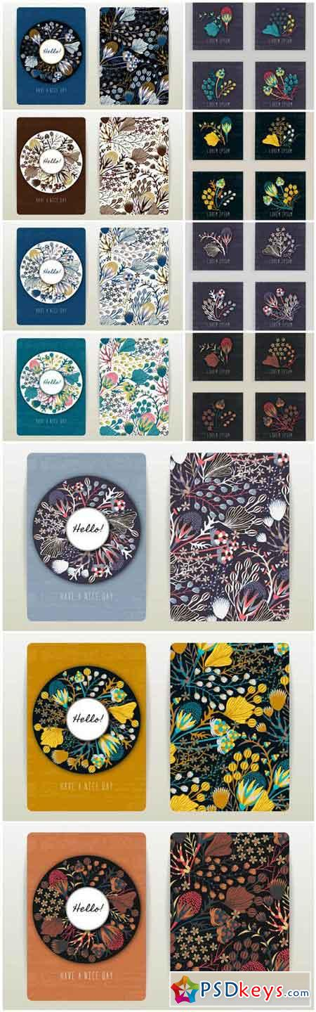 Cover Design With Floral Pattern - 11 Vector