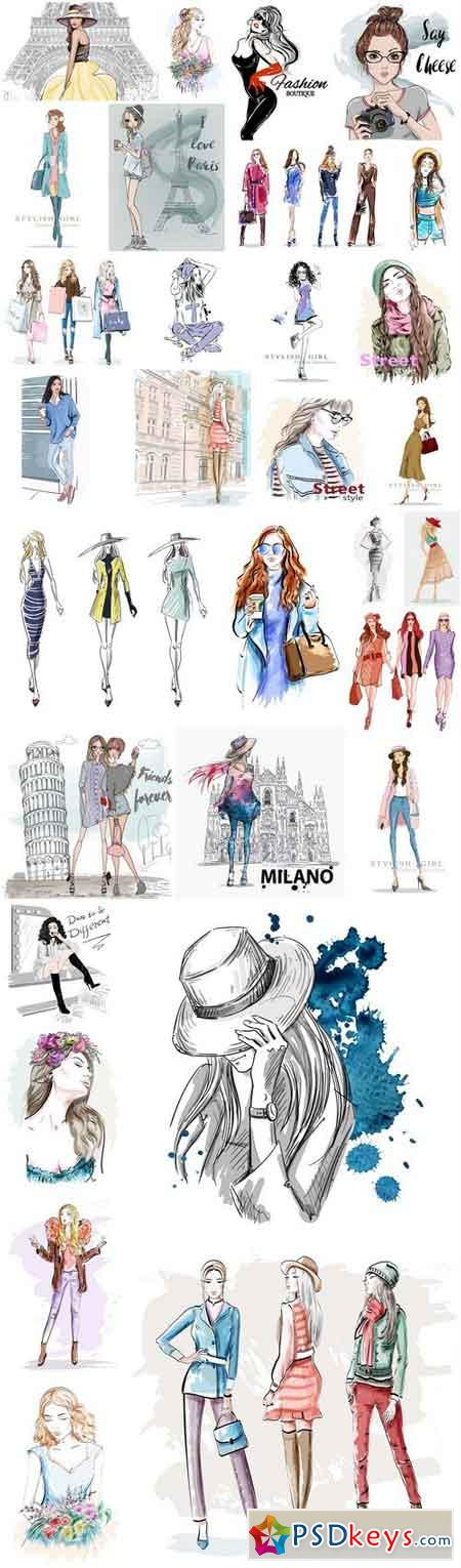 Beautiful Girls Sketch Collection - 30 Vector