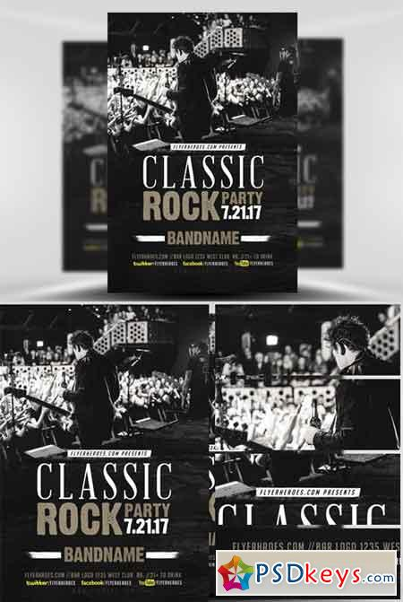 Classic Rock Bands Flyer Template V  Free Download Photoshop