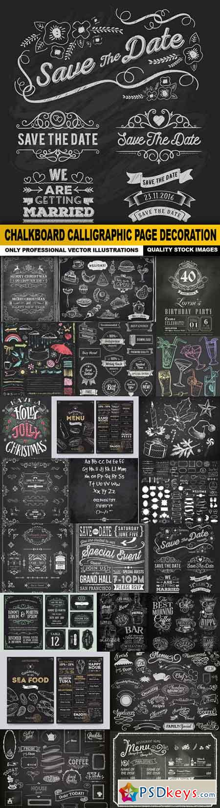 Chalkboard Calligraphic Page Decoration - 22 Vector