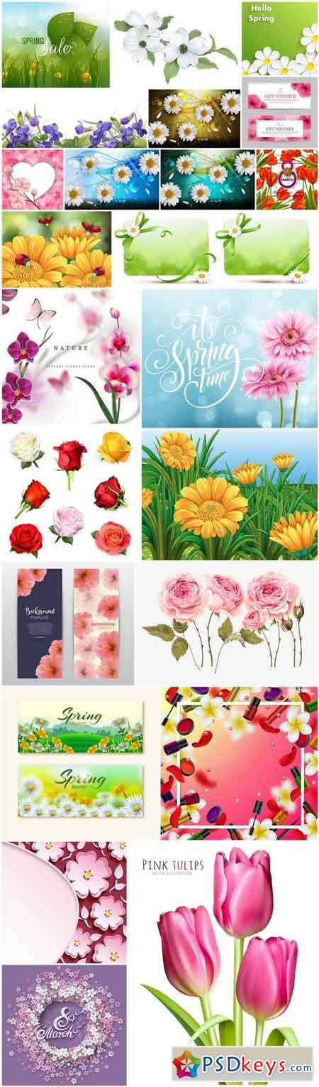 Spring Flowers Background #2 - 25 Vector