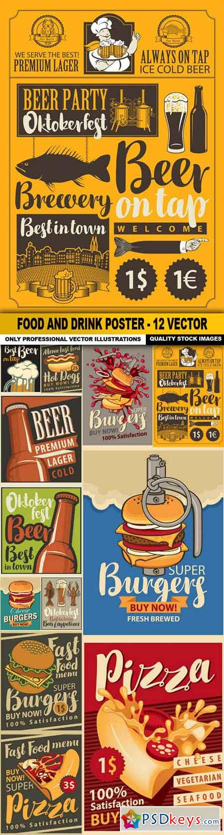 Food And Drink Poster - 12 Vector