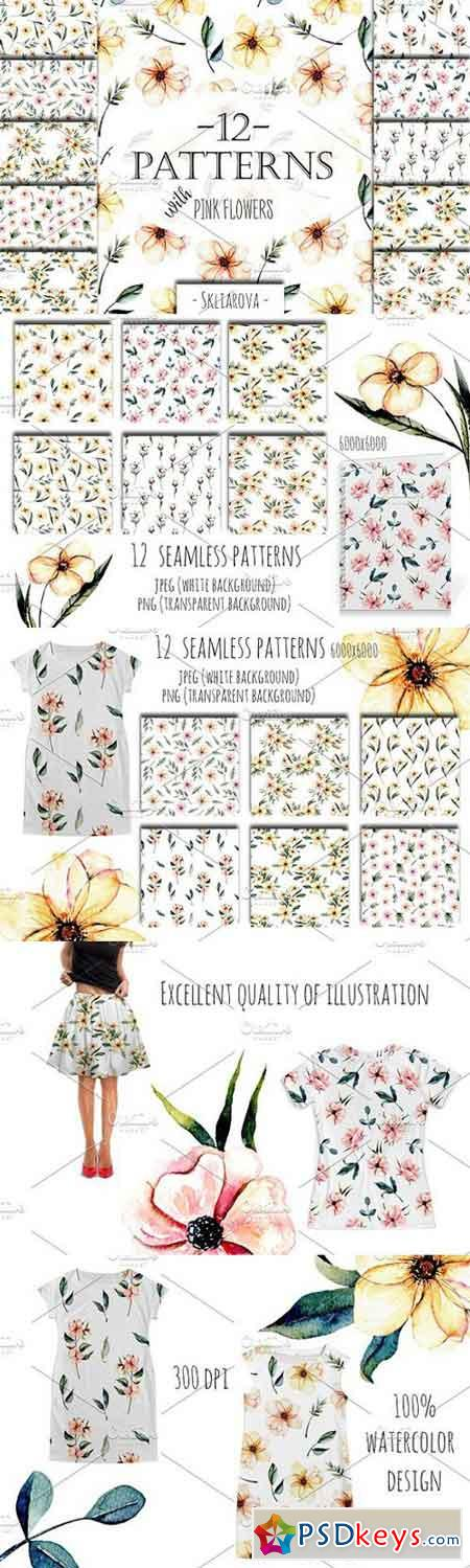 Pink watercolor flowers 12 Patterns 1644812