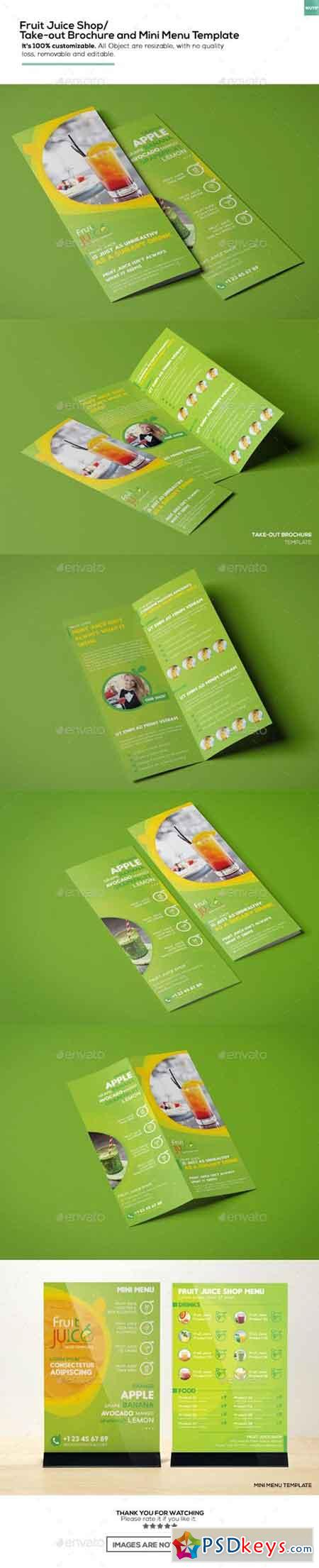 Fruit Juice Shop Take-out Brochure and Mini Menu Template 16402367