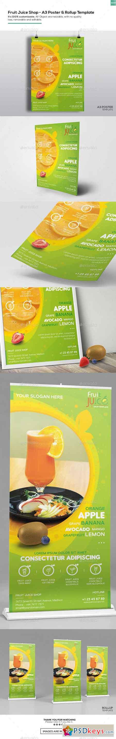 Fruit Juice Shop A3 Poster and Rollup Template 16402062