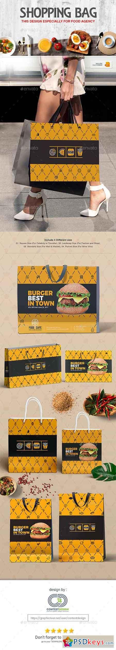 Shopping Bag Design Template for Fast Food Restaurants Cafe 20308815