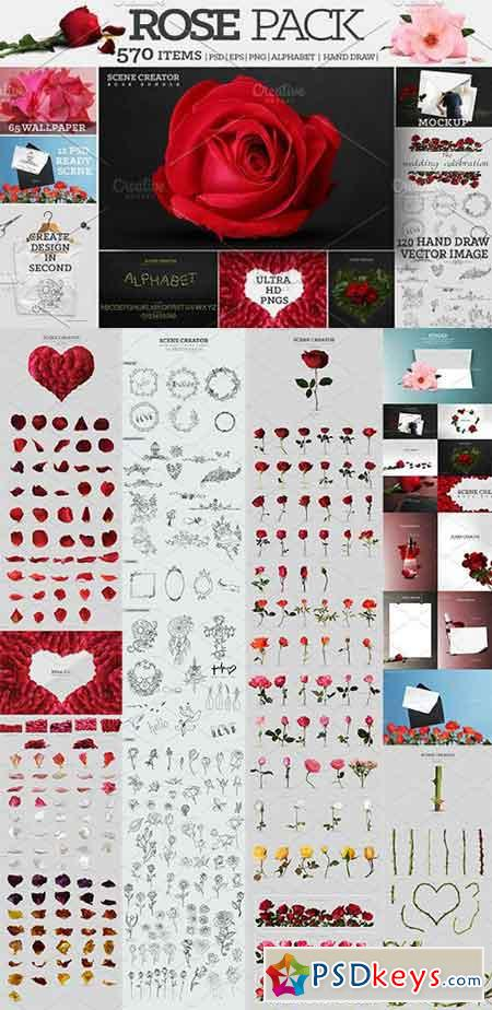 Rose Pack + 570 Ultra HD Elements 1663274