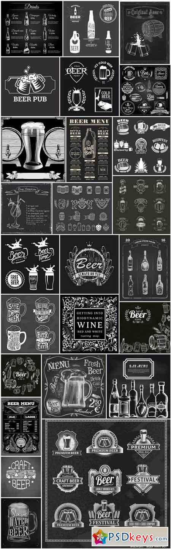 Beer Wine Whiskey Chalkboard - 25 Vector
