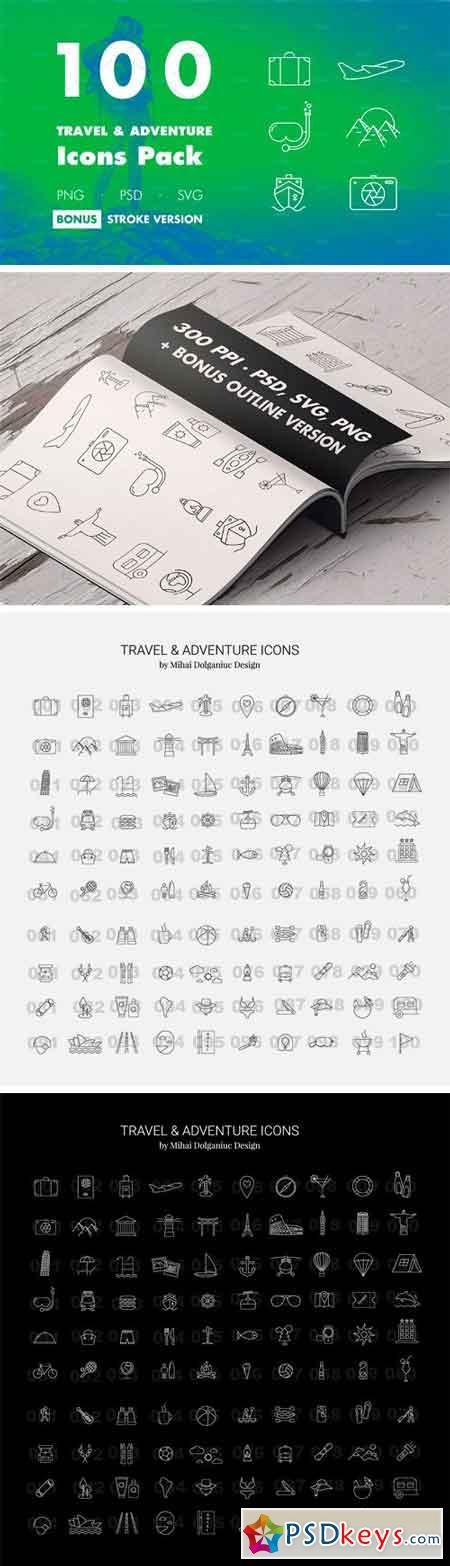 100 Travel & Adventure Icons Pack 1693162