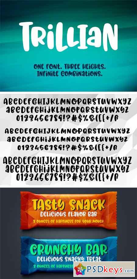 Trillian 1 fun font, 3 heights! 1696785