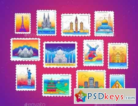 Stamps - Vector Line Travel Illustration 19982967