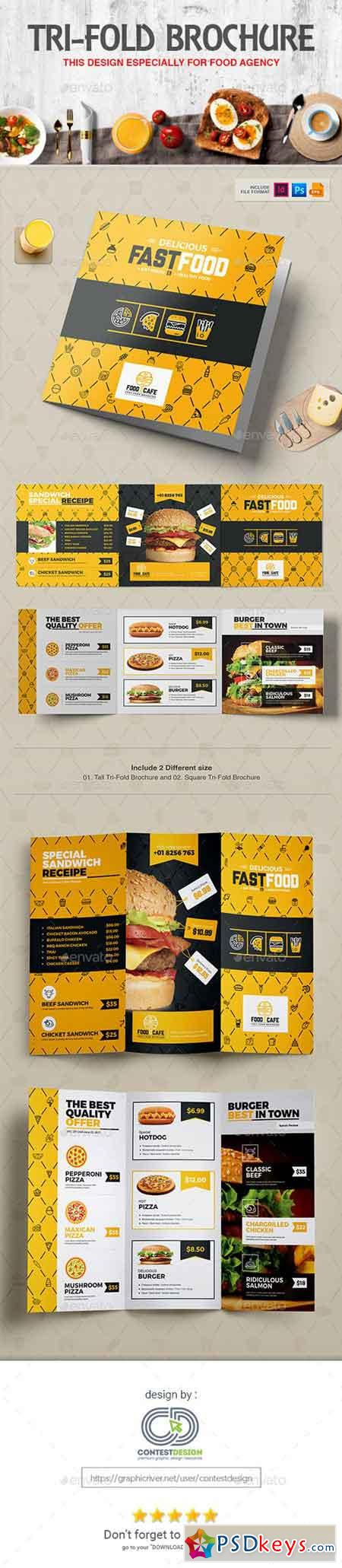 Tri-Fold Brochure Square & Tall Design Template for Fast Food Restaurants Cafe 20308586