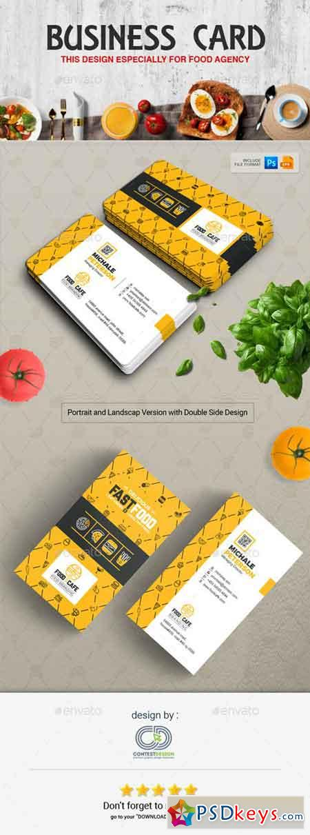 Business Card Design Template for Fast Food Restaurants Cafe 20270687