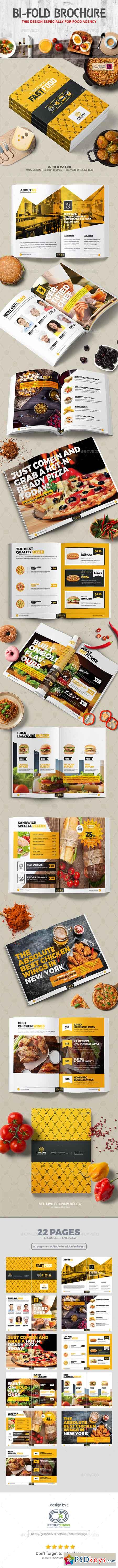 Bi-Fold Brochure Design Template for Fast Food Restaurants Cafe 20274377