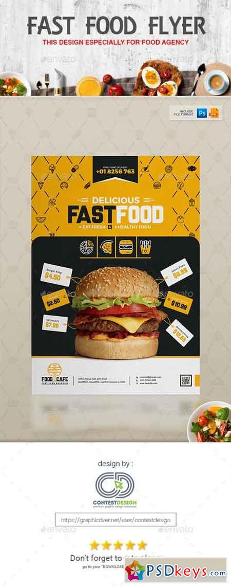 Flyer Poster Design Template for Fast Food Restaurants Cafe 20294979