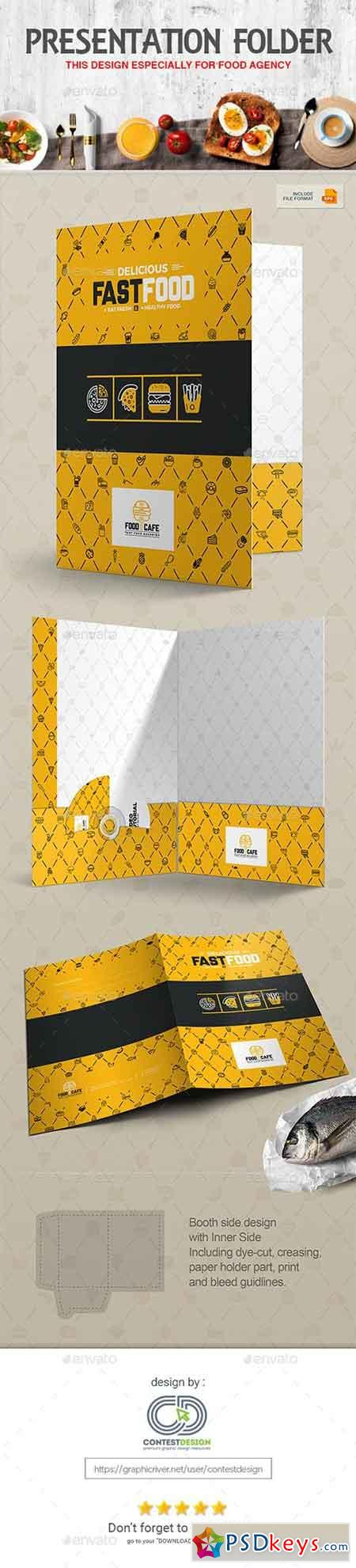 Presentation Folder Design Template for Fast Food Restaurants Cafe 20333501