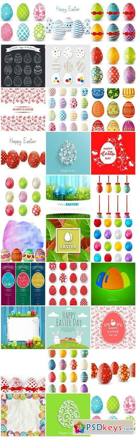 Happy Easter Easter Eggs Collection - 30 Vector