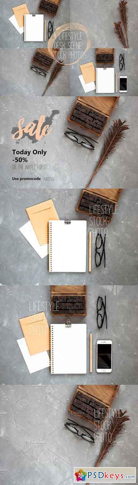 Pack of 4 desk scene photos 1719783