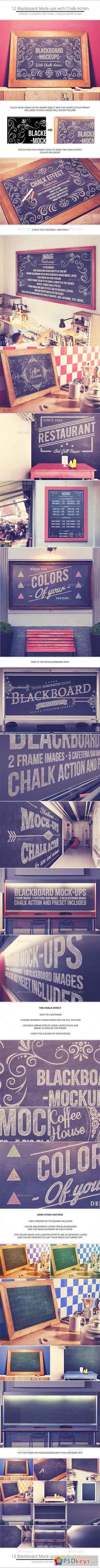 Blackboard Chalkboard Mock-ups with Chalk Action 10799470
