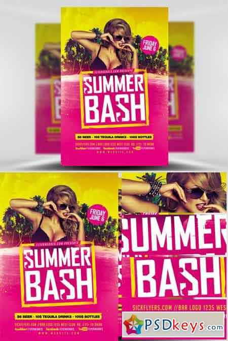 Summer Bash Flyer Template » Free Download Photoshop Vector Stock