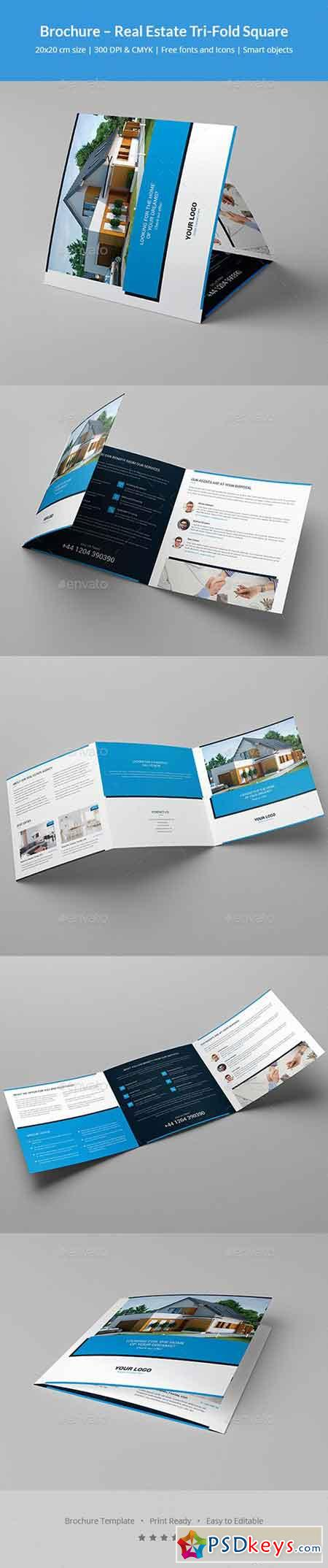 Brochure real estate tri fold square 20419366 free for Real estate tri fold brochure template