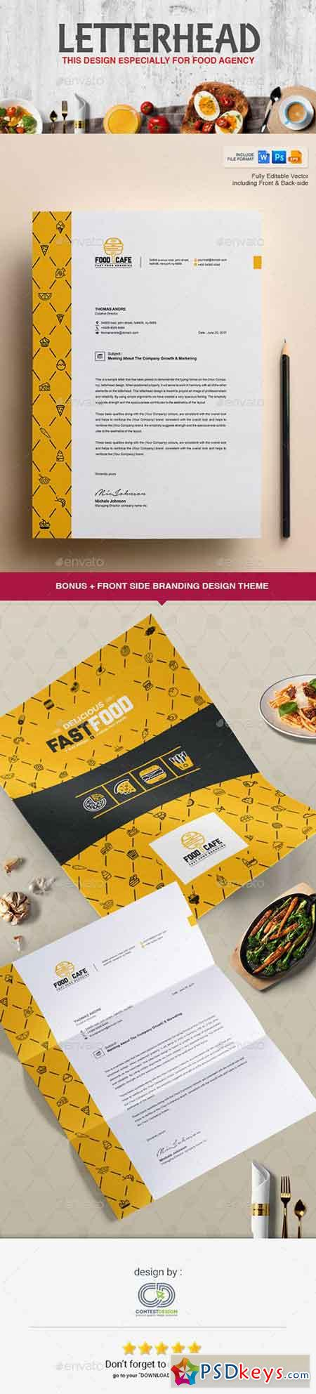 Letterhead Design Template for Fast Food Restaurants Cafe 20308425