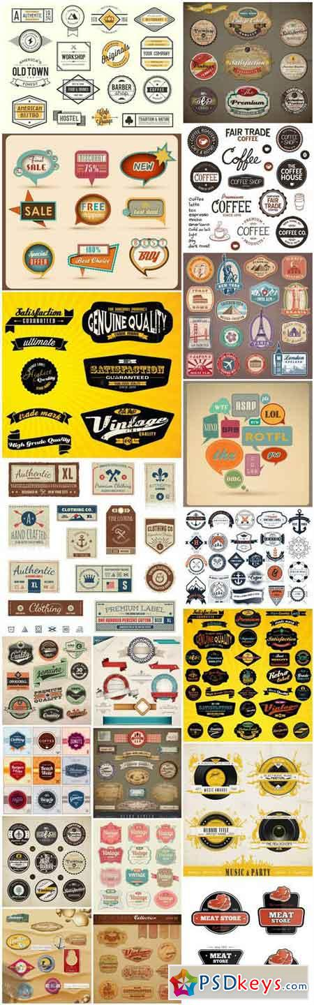Retro Labels Sticker Design - 20 Vector