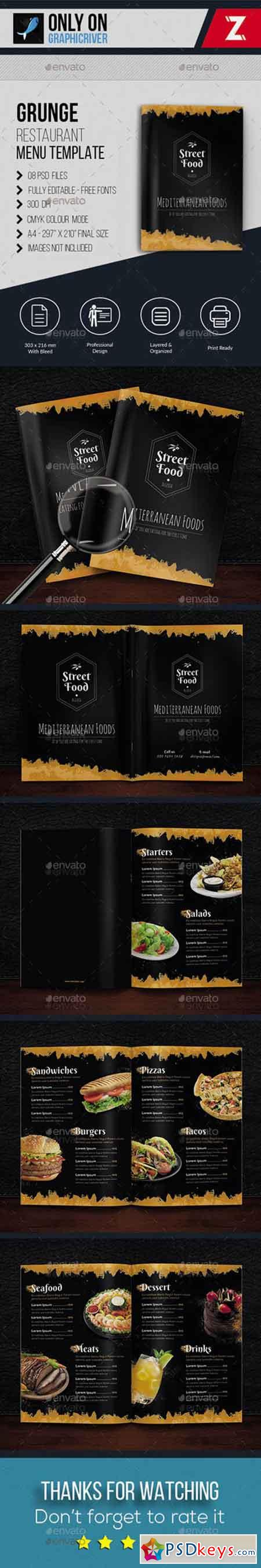 Grunge Restaurant Menu Template 20259204