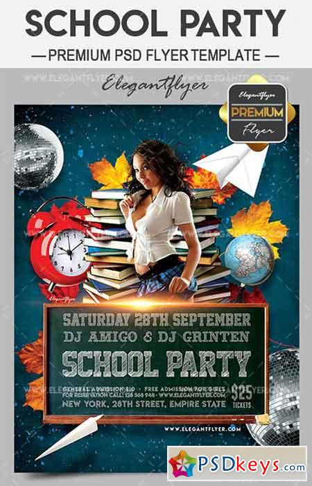 School Party – Flyer PSD Template + Facebook Cover