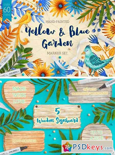 Yellow and Blue Garden Marker Set 1726280